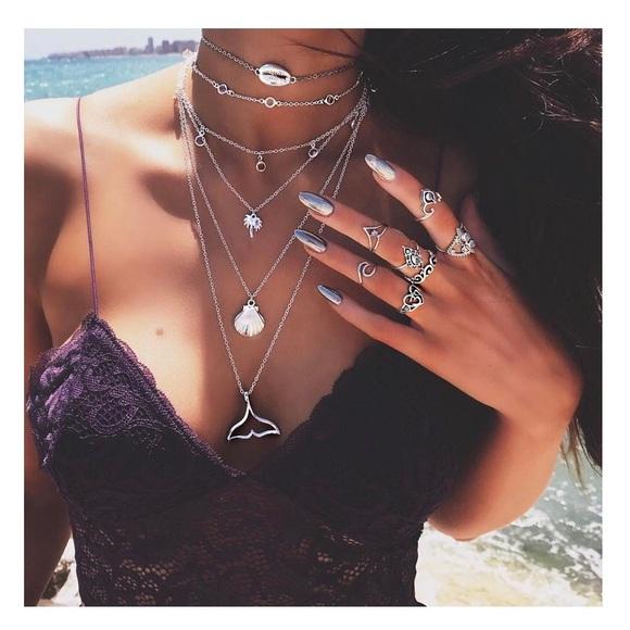 Jewelry - 🆕 Six Layer Silver Beach Mermaid Boho Necklace